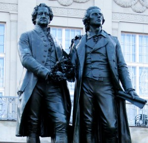 Statue of Goethe and Schiller in Weimar, Germany