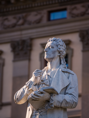 Statue of the German poet Friedrich Schiller in front of the Staatstheater in Wiesbaden; Axel Lauer, shutterstock