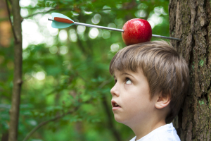 Reinactment of William Tell's apple shot. Photograph by Mike Mols, shutterstock