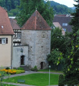 The grave digger was jailed for eight days in this tower in Murrhardt, Germany.