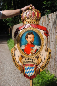 Ludwig II depicted on a sign