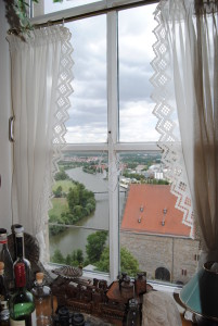 The tower keeper's view over the Neckar River.