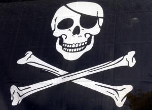 Jolly Roger as skulls and crossbones