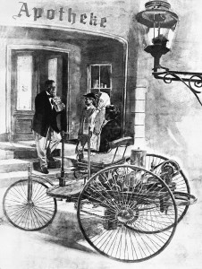 "Bertha Benz and her sons Eugen and Richard during their long-distance journey in August 1888 with the Benz Patent Motor Car. Contemporary portrayal of filling up at the pharmacy in Wiesloch, the ""world's first gas station."""