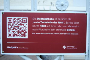 """The 'Stadtapotheke' is famous as the 'first gas station in the world.' Bertha Benz bought gasoline here for the first time in 1888 on her drive from Mannheim to Pforzheim."""