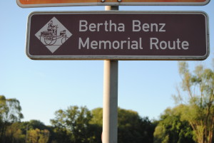 Signs for the Bertha Benz Memorial Route between Mannheim and Pforzheim.