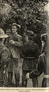 """""""Lincoln protecting Potawatomi"""" by Unknown - Northern Illinois University; Browne, Francis F. The Every-day Life of Abraham Lincoln. New York: N.D. Thompson Publishing Co., 1886. Licensed under Public Domain via Wikimedia Commons"""