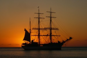 Ship in the sunset.