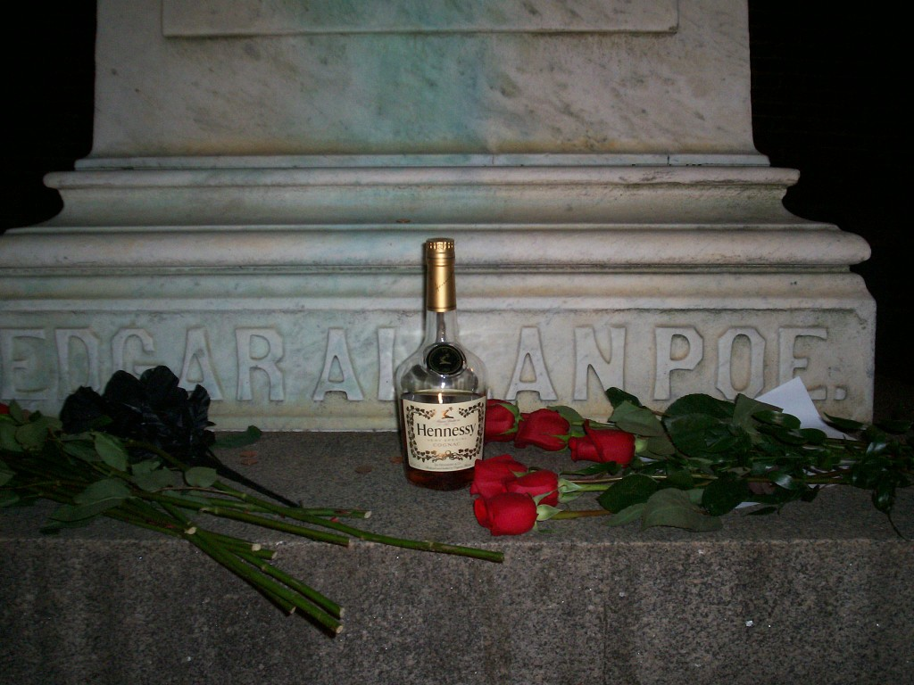 The Poe Toaster left cognac and roses