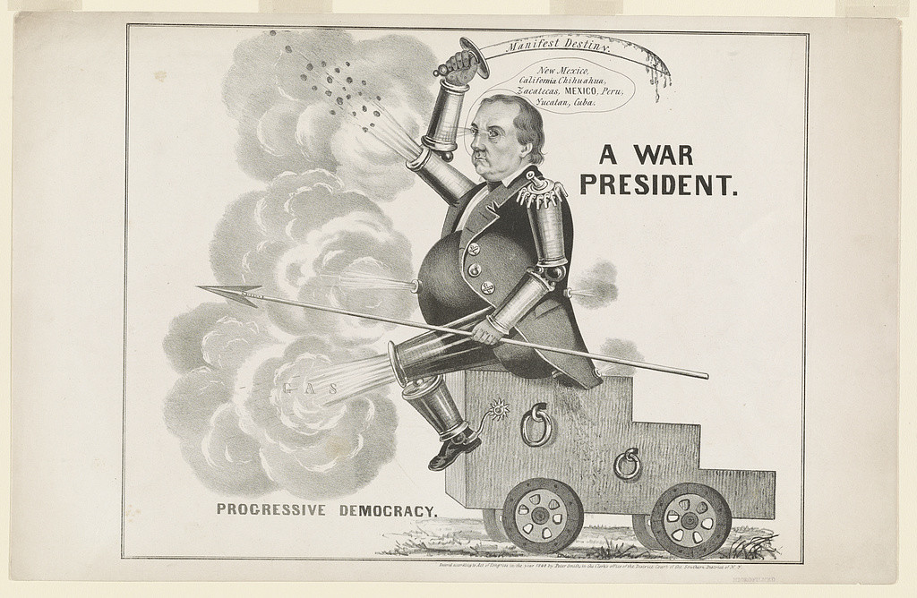 """A war president. Progressive democracy,"" wielding a sword entitled Manifest Destiny."