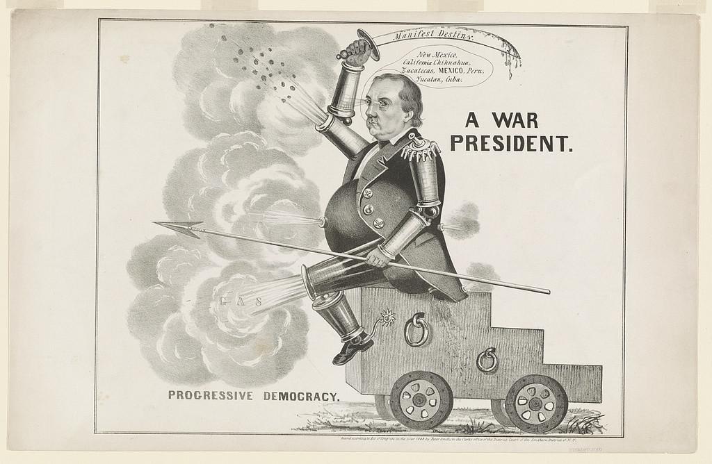 """A war president. Progressive democracy,"" wielding a sword entitled Manifest Destiny."
