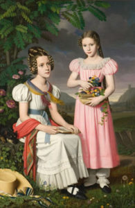 A portrait of two Bavarian girls in 1830.