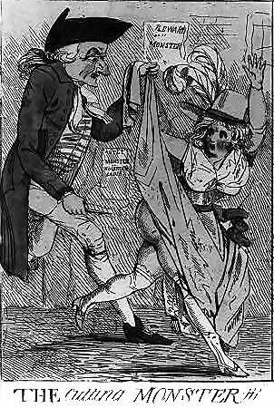 London Monster slashing a woman's backside.