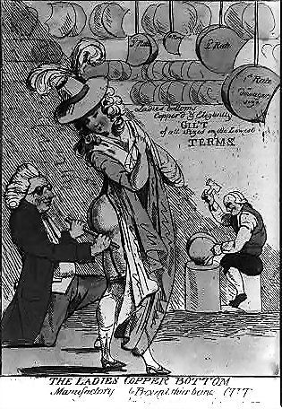 A lady getting fitted for a copper bottom -- as protection against the London Monster.