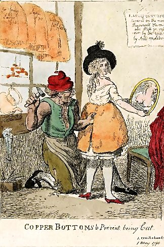 """""""Copper Bottoms to Prevent being Cut"""" by Isaac Cruikshanks, 1 May 1790 published by S.W. Fores; public domain."""