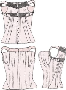 Pattern for a girl's corset in 1850.