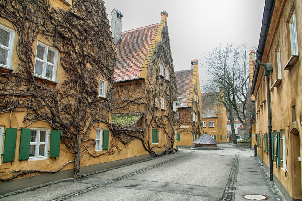 Residential street in Augsburg, Germany.