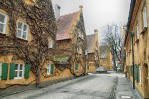 Residential street in Augsburg, Germany.