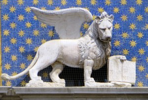 Venice's lion is often shown holding a book.