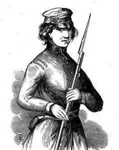 Eliza Allen Billings as a soldier.