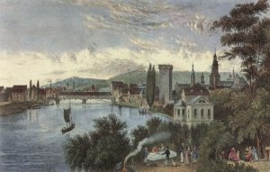 Another 1840 image of the Neckar in Heilbronn, showing one of the bridges. Mark Twain's raft trip might have started here.