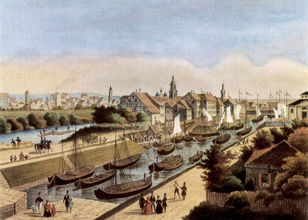 The Neckar River and Wilhelm Canal in Heilbronn in 1840 with a log raft to the left.
