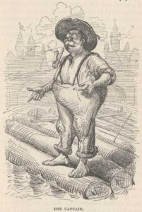 The raft captain from the original edition of A Tramp Abroad (public domain.)