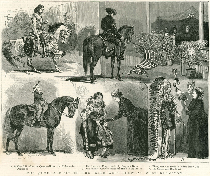 Buffalo Bill's troupe performs for Queen Victoria.