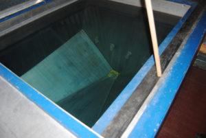 Water tank for test firing.