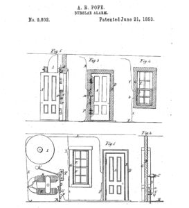 Patent for the first burglar alarm.