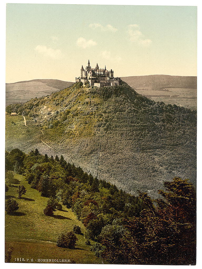 Hohenzollern castle on a 19th-c. postcard