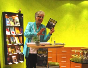 Ann Marie Ackermann presents Death of an Assassin at the Bietigheimer Bücherstube.