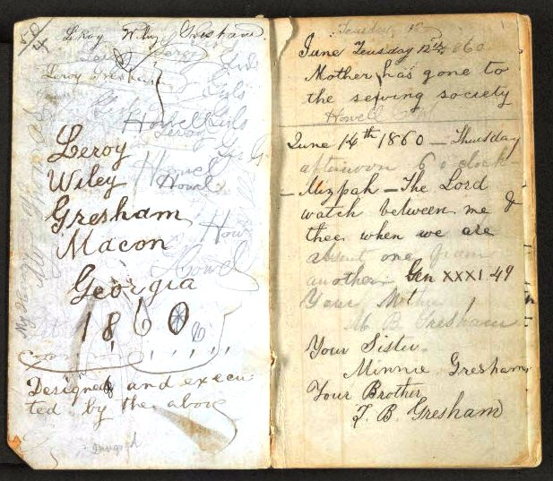 A page from LeRoy Wiley Gresham's diary. Courtesy of Janet Elizabeth Croon.