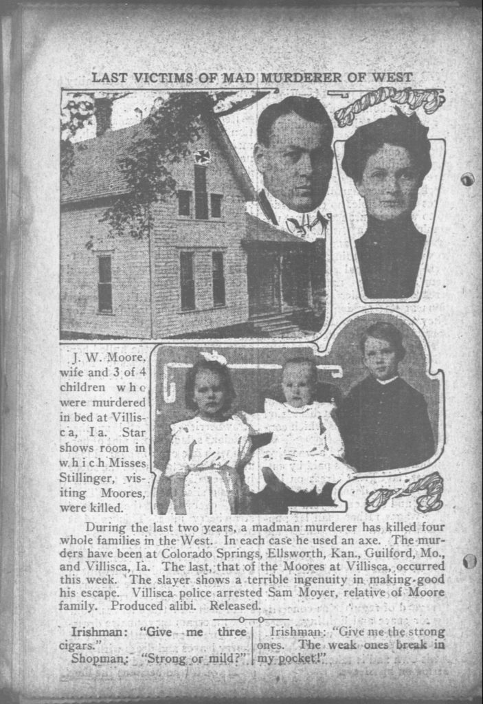 An article in The Day Book, Chicago, 14 June 1912, depicting five of the Villisca ax murder victims and the house.