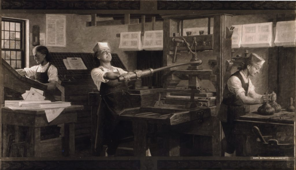 A young Benjamin Franklin (middle) as a printer.