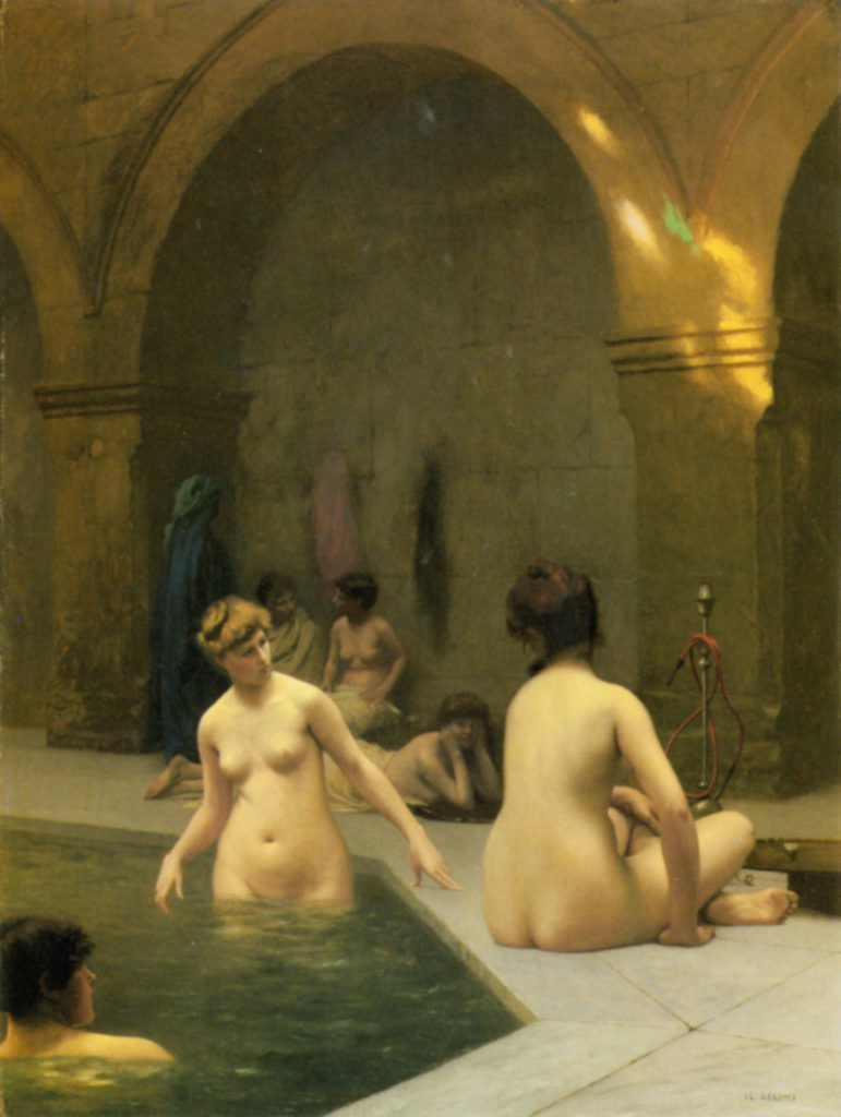 People bathing at a public bath.