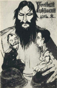 Caricature of Rasputin and the Imperial couple (1916).
