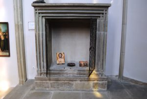 The Regiswindis shrine in the church, where her casket used to reside. It was stolen during the Reformation.