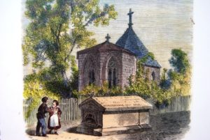 Illustration of the Regiswindis chapel next to the church.