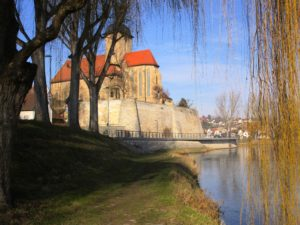 According to legend, the nurse threw Regiswindis down these castle walls/cliffs. The Regiswindis Church now stands where the castle once stood.