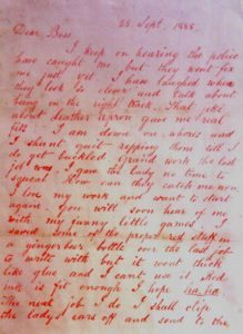Page one of the Dear Boss letter, which has been mistakenly attributed to Jack the Ripper.