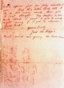 "Page 2 of the Dear Boss letter contains the infamous ""Jack the Ripper"" signature. Public domain."