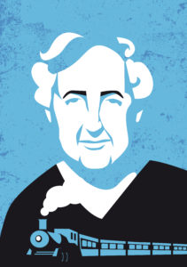 Agatha Christie, author of Murder on the Orient Express. Mario Breda, Agatha Christie, Shutterstock.com.